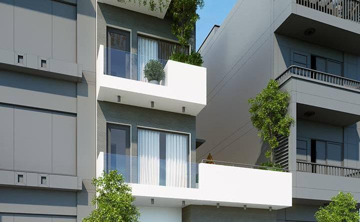 Thiết kế nhà phố 3 tầng hiện đại Anh Trung 970 Lê Lợi Tp Bắc Giang