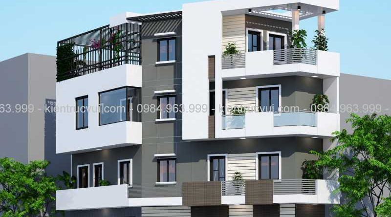 Thiết kế nhà lô góc 4 tầng hiện đại Anh Vĩnh Tp Bắc Giang