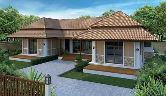 Mẫu thiết kế nhà cấp 4 mái thái 1 tầng - mẫu 5