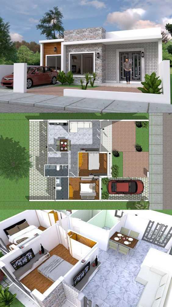 Mẫu thiết kế nhà cấp 4 mái thái 1 tầng - mẫu 1