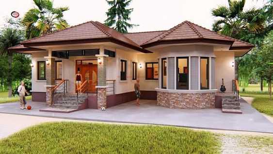 Mẫu thiết kế nhà cấp 4 mái thái 1 tầng - mẫu 13