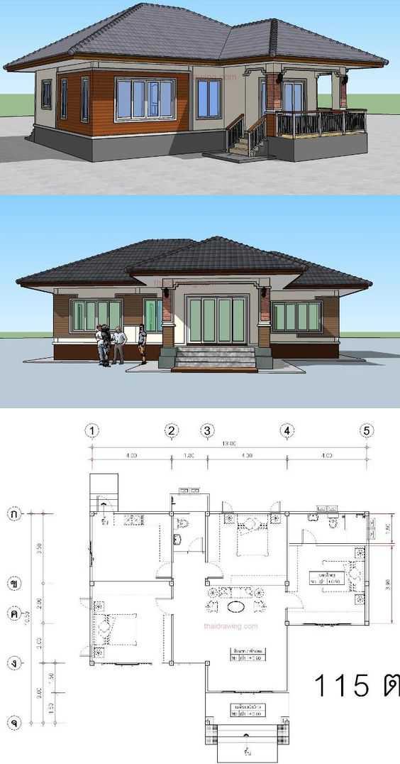 Mẫu thiết kế nhà cấp 4 mái thái 1 tầng - mẫu 23