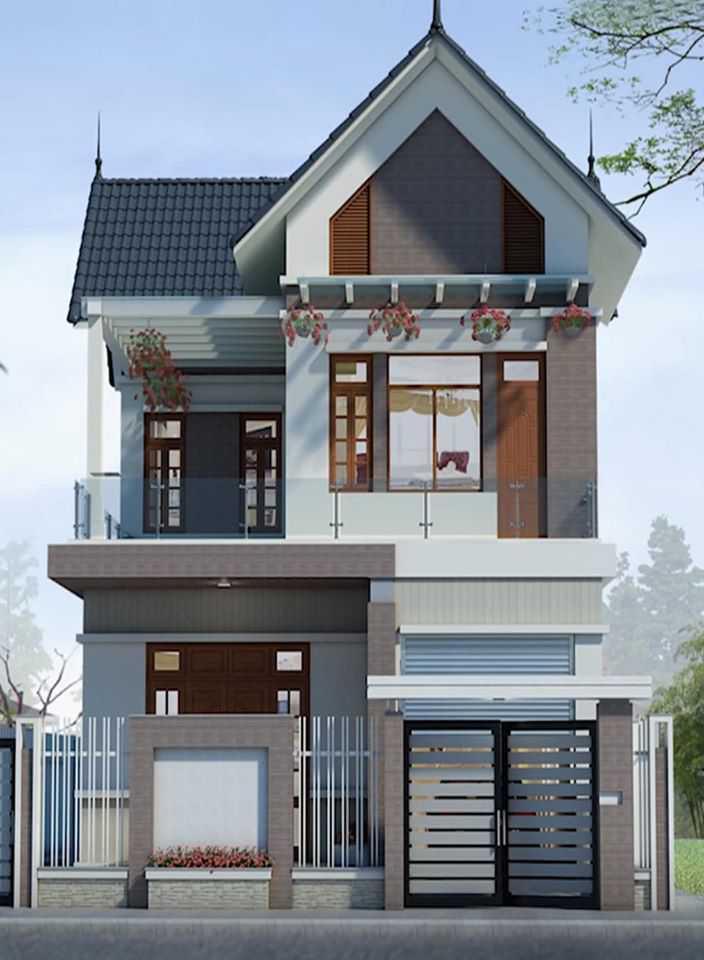 Mẫu nhà phố 3 tầng một mặt tiền có mái thái