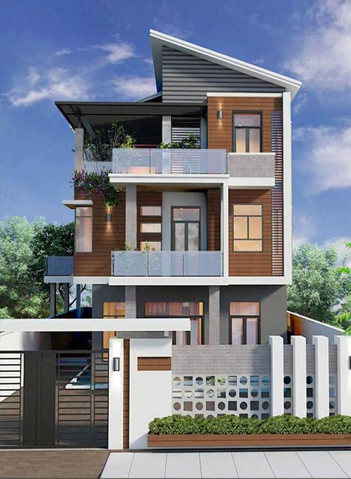 Mẫu nhà phố 3 tầng nhà phố rộng có mái thái