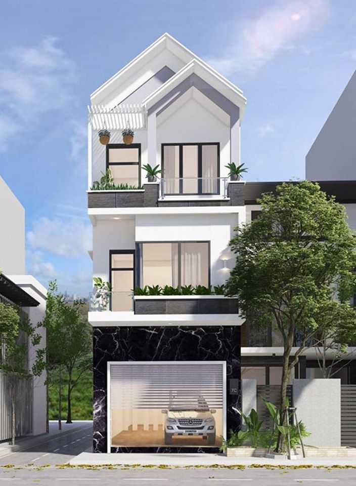 Mẫu nhà phố 3 tầng một mặt tiền hiện đại có mái thái