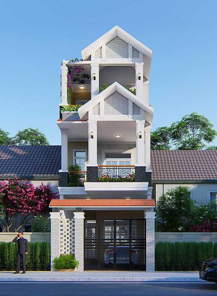 Mẫu nhà phố 4 tầng một mặt tiền hiện đại mái thái đẹp 2021