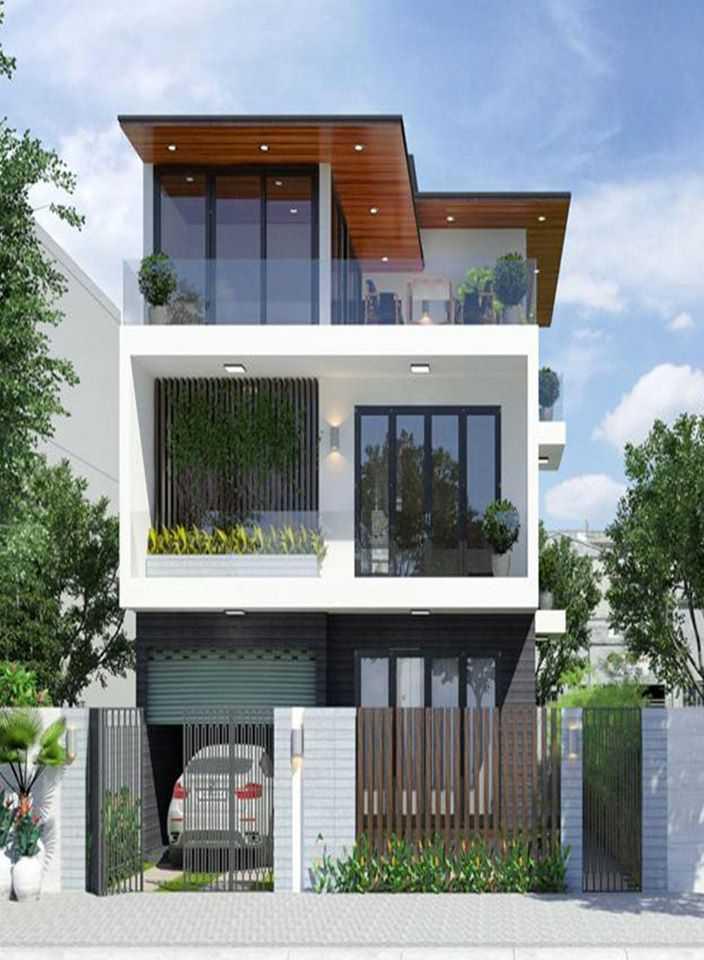 Mẫu nhà phố 3 tầng 2 mặt tiền hiện đại thoáng nhiều cửa