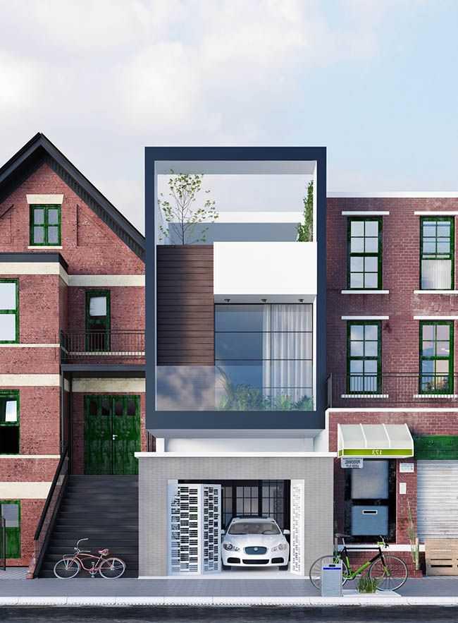 Mẫu nhà phố 3 tầng một mặt tiền hiện đại