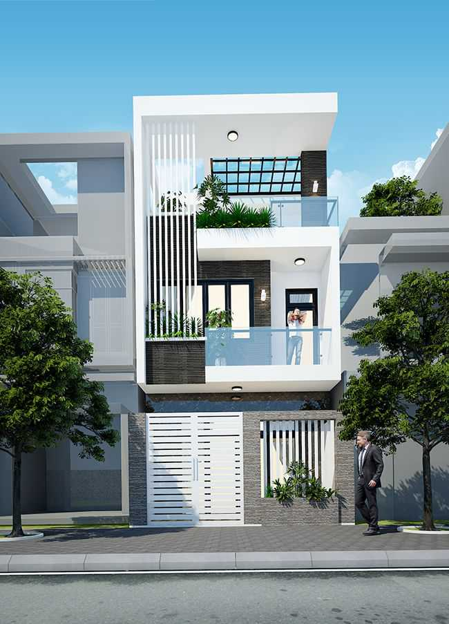Mẫu nhà phố 3 tầng 1 mặt tiền hiện đại thoáng nhiều cửa