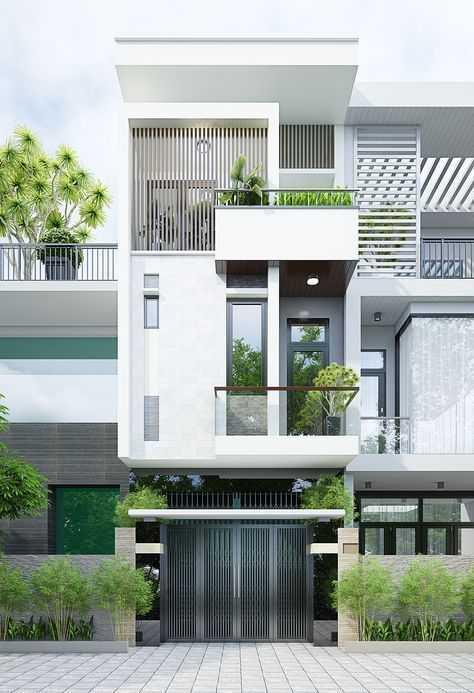 Mẫu nhà phố 3 tầng trắng đẹp