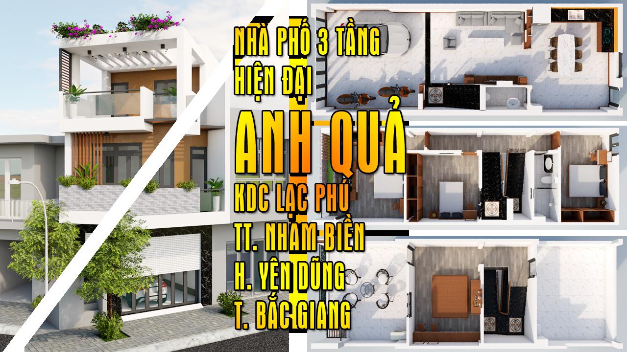 Phương  án thiết kế Nhà phố 3 tầng hiện đại Anh Quả Lạc Phú Nham Biền huyện Yên Dũng
