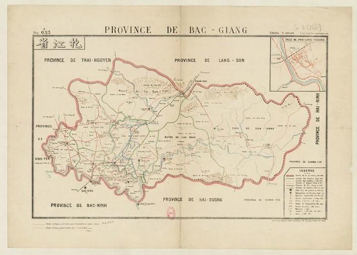 Bản đồ tỉnh Bắc Giang năm 1910. Thị xã Phủ Lạng Thương nằm ở góc dưới bên trái.