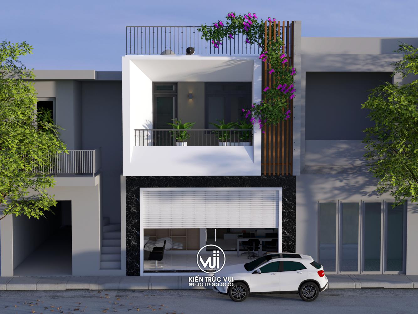 Phối cảnh mặt tiền Nhà phố 2 tầng hiện đại Anh Hoàng huyện Việt Yên Tỉnh Bắc Giang