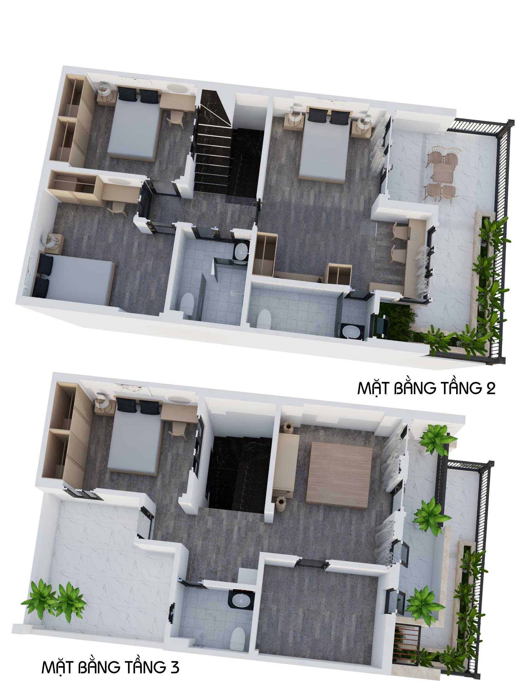 Mặt bằng tầng 2 và tầng 3