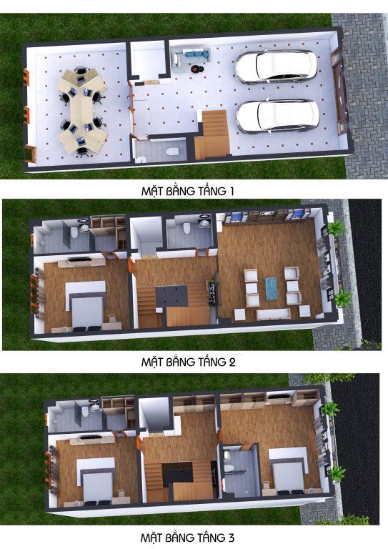 Phối cảnh 3D Mặt bằng tầng 1 - 2 - 3