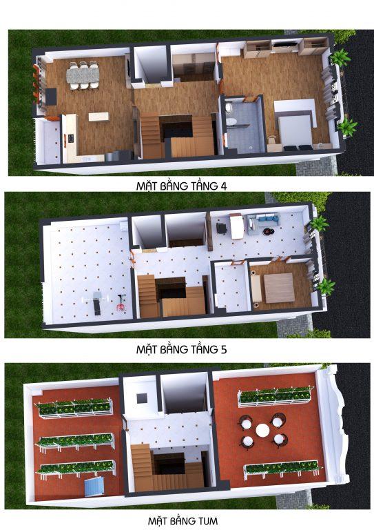 Phối cảnh 3D Mặt bằng tầng 4 - 5 - tum