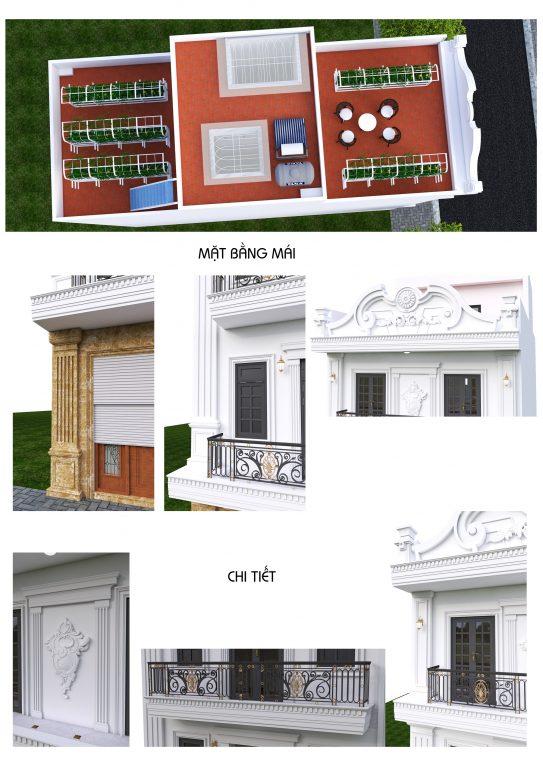 Phối cảnh 3D Mặt bằng mái và chi tiết trang trí