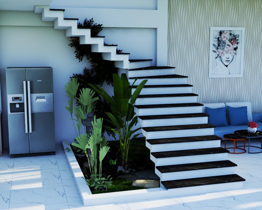 Một góc cầu thang xanh