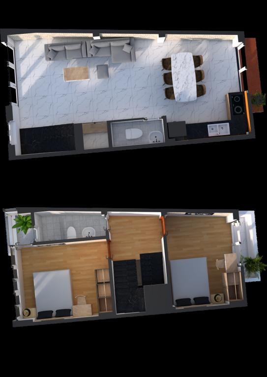 Phối cảnh 3D Mặt bằng tầng 1 - 2